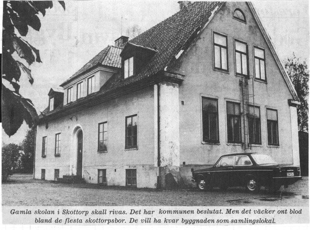 Skottorps gamla skola. Artikel i Laholms Tidning.